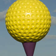 Yellow Golf Ball Print by Carl Purcell