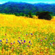 Yellow Hills Print by Wingsdomain Art and Photography