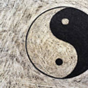 Yin And Yang Symbol On Drum Print by Sami Sarkis