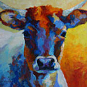 Young Blood - Longhorn Print by Marion Rose