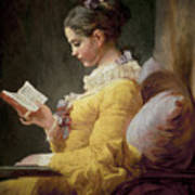 Young Girl Reading Print by JeanHonore Fragonard