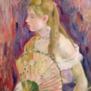 Young Girl With A Fan Print by Berthe Morisot