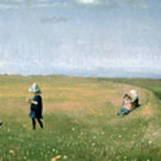 Young Girls Picking Flowers In A Meadow Print by Michael Peter Ancher