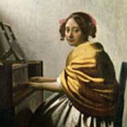 Young Woman At A Virginal Print by Jan Vermeer