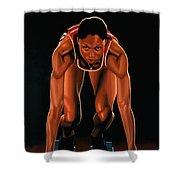 Allyson Felix  Shower Curtain by Paul Meijering