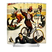Funny Scenes of Bicycles and Roller Skates Shower Curtain by Nomad Art And  Design