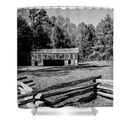 Historical Cantilever Barn At Cades Cove Tennessee In Black And White Shower Curtain by Kathy Clark