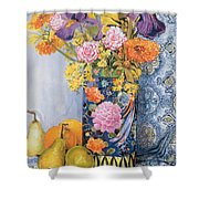 Iris And Pinks In A Japanese Vase With Pears Shower Curtain by Joan Thewsey