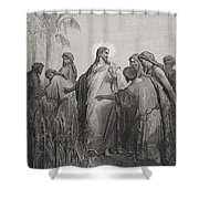 Jesus And His Disciples In The Corn Field Shower Curtain by Gustave Dore