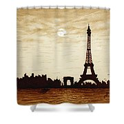 Paris Under Moonlight Silhouette France Shower Curtain by Georgeta  Blanaru