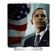 President Barack Obama Shower Curtain by Marvin Blaine