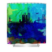 San Francisco Watercolor Skyline 2 Shower Curtain by Naxart Studio