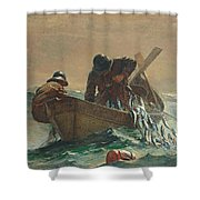 The Herring Net Shower Curtain by Winslow Homer