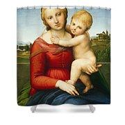 The Small Cowper Madonna Shower Curtain by Raphael Raffaello Sanzio of Urbino