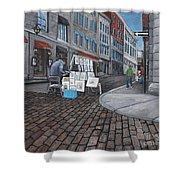 Vendeur Sur La Rue Vieux Montreal Shower Curtain by Reb Frost