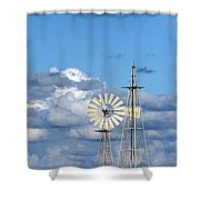 Water Windmills Shower Curtain by Stelios Kleanthous