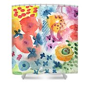 Watercolor Garden Shower Curtain by Linda Woods