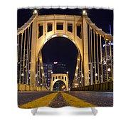 0304 Roberto Clemente Bridge Pittsburgh Shower Curtain by Steve Sturgill