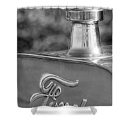 1911 Ford Model T Torpedo 4 Cylinder 25 Hp Hood Ornament  Emblem Shower Curtain by Jill Reger