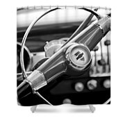 1951 Chevrolet Convertible Steering Wheel Shower Curtain by Jill Reger