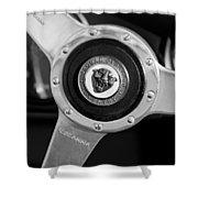 1951 Jaguar Steering Wheel Emblem Shower Curtain by Jill Reger