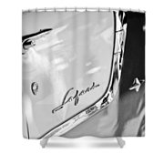 1955 Pontiac Safari Station Wagon Emblem Shower Curtain by Jill Reger