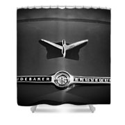 1955 Studebaker President Emblem Shower Curtain by Jill Reger