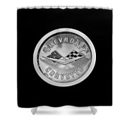 1960 Chevrolet Corvette Roadster Emblem Shower Curtain by Jill Reger