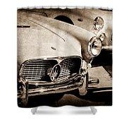 1960 Maserati Grille Emblem Shower Curtain by Jill Reger