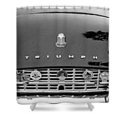 1960 Triumph Tr 3 Grille Emblems Shower Curtain by Jill Reger