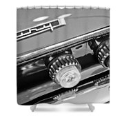 1962 Plymouth Fury Taillights And Emblem Shower Curtain by Jill Reger