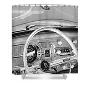 1962 Volkswagen Vw Beetle Cabriolet Steering Wheel Shower Curtain by Jill Reger
