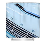 1963 Ford Falcon Futura Convertible Hood Emblem Shower Curtain by Jill Reger