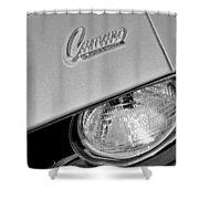 1969 Chevrolet Camaro Headlight Emblem Shower Curtain by Jill Reger
