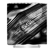 1969 Chevrolet Camaro Rs-ss Indy Pace Car Replica Steering Wheel Emblem Shower Curtain by Jill Reger