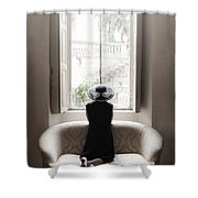 40s Lady Shower Curtain by Joana Kruse