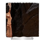 A Glimpse Of Al Khazneh From The Siq In Petra Jordan Shower Curtain by Robert Preston
