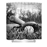 Backyard Baseball Memories Shower Curtain by Cricket Hackmann