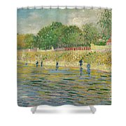 Bank Of The Seine Shower Curtain by Vincent van Gogh