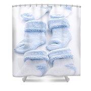 Blue Baby Socks Shower Curtain by Elena Elisseeva