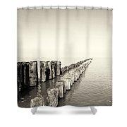 Breakwaters Shower Curtain by Wim Lanclus