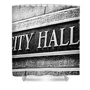Chicago City Hall Sign In Black And White Shower Curtain by Paul Velgos