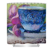 Coffee And Flowers Shower Curtain by Nancy Stutes