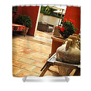 Courtyard Of A Villa Shower Curtain by Elena Elisseeva