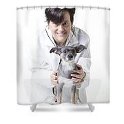 Cute Little Dog At The Vet Shower Curtain by Edward Fielding