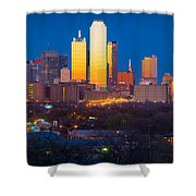 Dallas Skyline Shower Curtain by Inge Johnsson