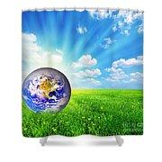 Earth Globe On Green Grass Shower Curtain by Michal Bednarek