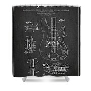 Fender Guitar Patent Drawing From 1961 Shower Curtain by Aged Pixel