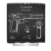 Firearm Patent Drawing from 1897 - Dark Shower Curtain by Aged Pixel