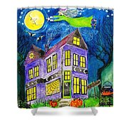 Flight Of The Moon Witch On Hallows Eve Shower Curtain by Janet Immordino